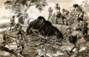 Wooly Mammoth in a pit trap, being stoned by the hunters