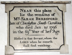 Tomb marker for Sarah Beresford, of Charleston South Carolina who dies 25 January 1796. On the wall of Chaldon Church Surrey UK