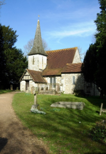 Chaldon Church. view from the gate, along the footpath