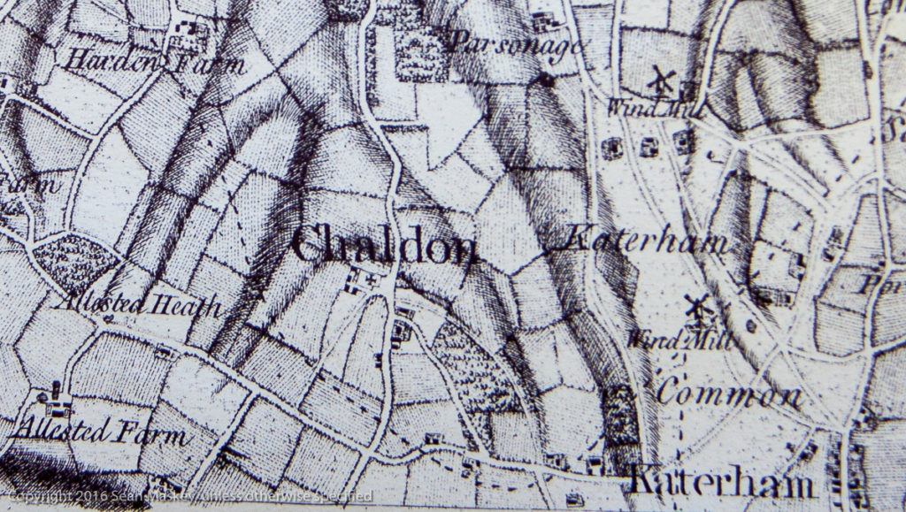 Rocque Map of Surrey 1768 showing Ditches, Church & Doctors Lanes and the Green