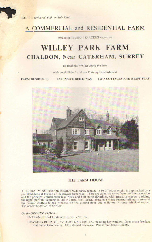 Wiley Park Farm: Auction 1969